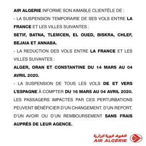 communique air algerie mars 2020 coronavirus