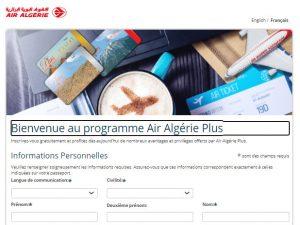 Formulaire d'inscription Air Algérie Plus